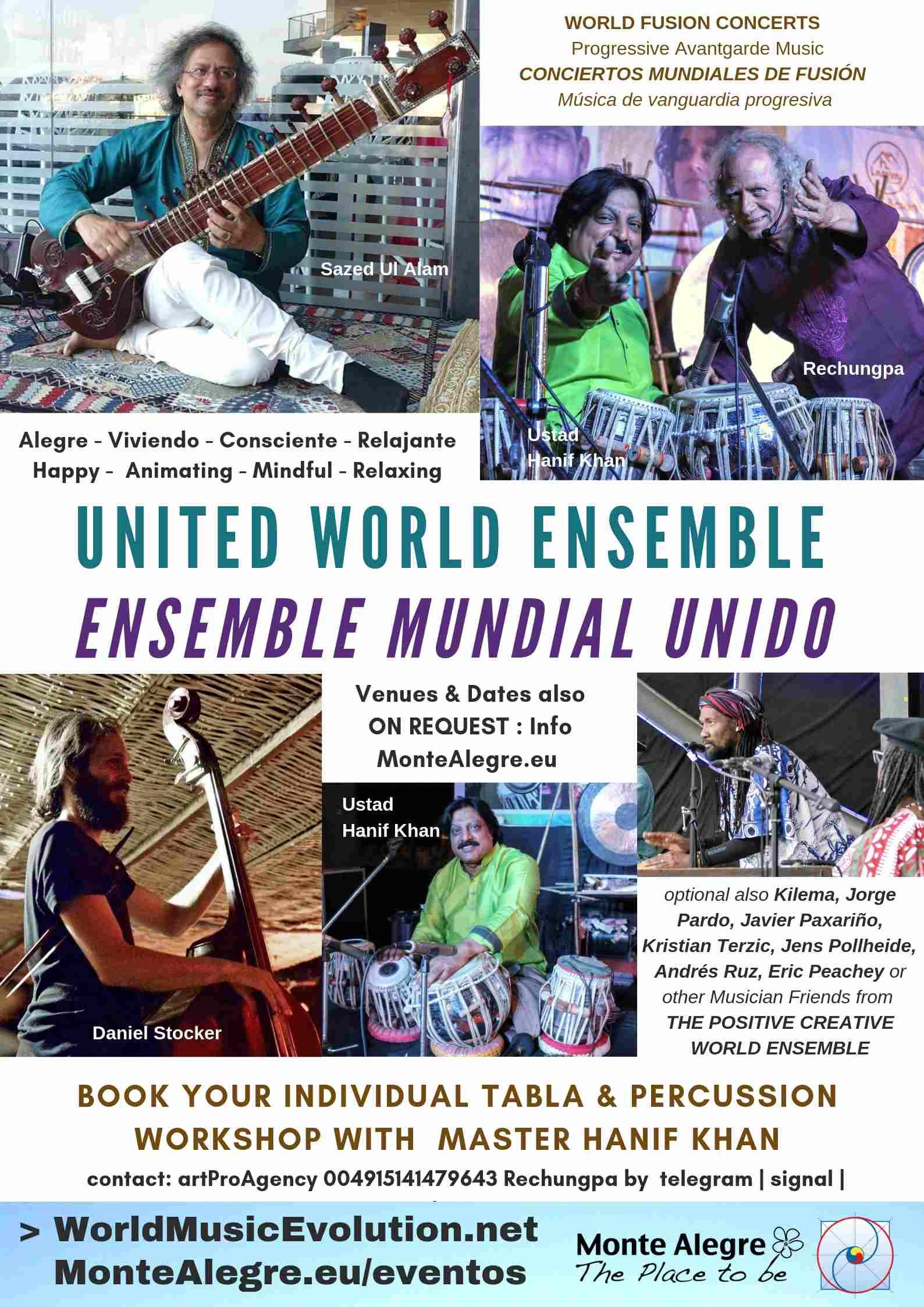 ENSEMBLE MUNDIAL UNIDO – CONCIERTOS MUNDIALES DE FUSIÓN – Música de vanguardia progresiva