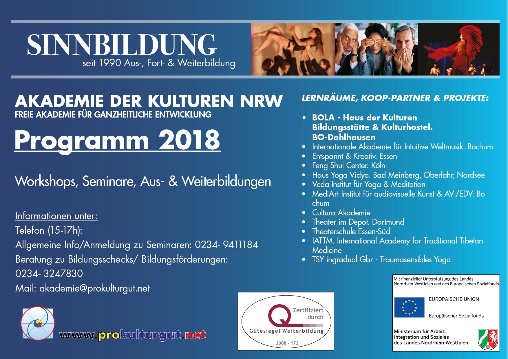 Jahresprogramm 2018 der Akademie der Kulturen NRW