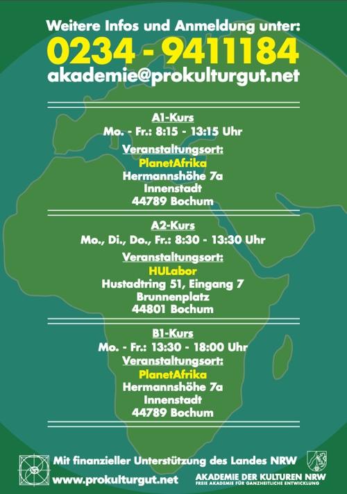 Deutsch-Sprachkurs Flyer Orte